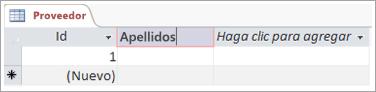 Fragmento de código de pantalla del campo para agregar un nombre descriptivo a una columna