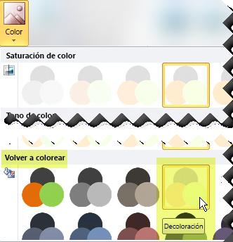 Haga clic en el botón Color y, en Volver a colorear, seleccione Decolorar.