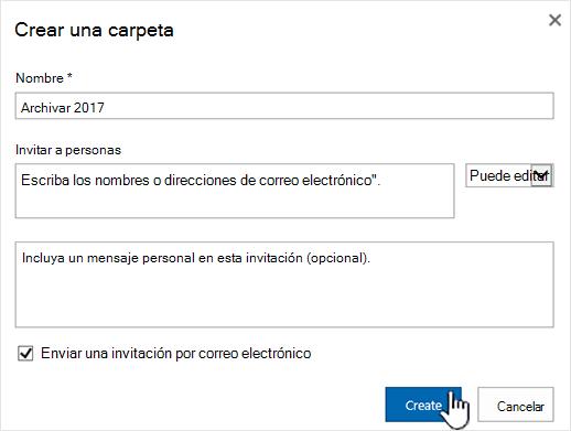 Cuadro de diálogo de SharePoint Online modo clásico compartir