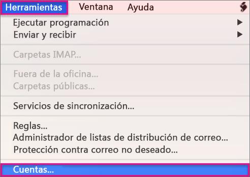 Herramientas > Cuentas