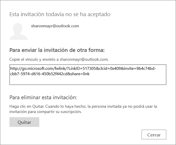 Screen shot of the dialog box for a pending invitation with a link to send via email and a button to remove the invitation.