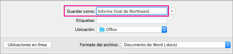En el cuadro Guardar como, escriba o modifique el nombre del archivo para el documento actual.
