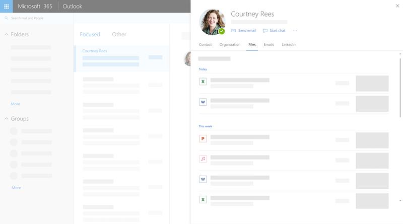 Tarjeta de perfil en Outlook en la web