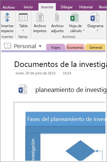 Captura de pantalla de cómo agregar un diagrama de Visio existente en OneNote 2016.