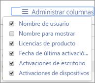 Informes de Office 365: columnas disponibles en las activaciones de Office