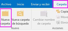 En la pestaña Carpeta, haga clic en Nueva carpeta.