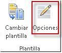 Botón de opciones de plantillas en Publisher 2013