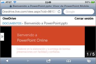 Presentación con diapositivas en el Visor de PowerPoint Mobile