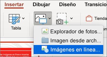 Menú Insertar en el que se muestra el comando Imágenes en línea