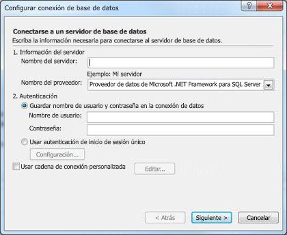 Cuadro de diálogo Configurar conexión de base de datos