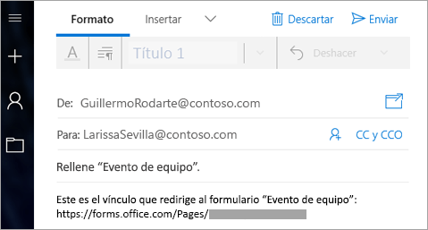 Enviar un vínculo al formulario en un correo electrónico
