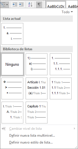 Haga clic en el botón Lista multinivel para agregar numeración a un estilo de título integrado, por ejemplo Título 1, en el título del documento.
