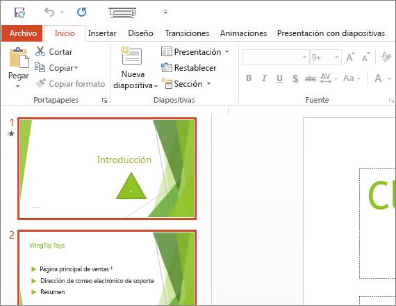 Muestra PowerPoint 2016 con el tema blanco aplicado.