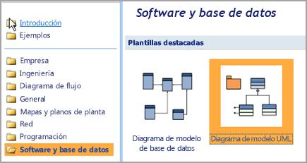 Seleccione la base de datos y Software