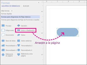El arrastre del cursor comienza/termina la forma en la página