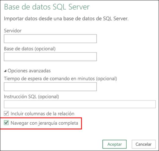 Conectores de base de datos relacional mejorados de Power BI para Excel