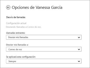 Captura de pantalla de las opciones de reenvío de las llamadas entrantes con las opciones para reenviar al buzón de voz y aplicar siempre
