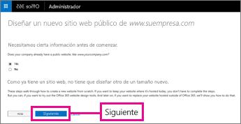 Su empresa ya tiene un sitio web, así que seleccione Siguiente