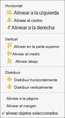 Para alinear objetos entre sí, seleccione Alinear objetos seleccionados.
