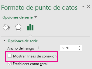 Panel de tareas Formato de punto de datos con la casilla Mostrar líneas conectoras activada en Office 2016