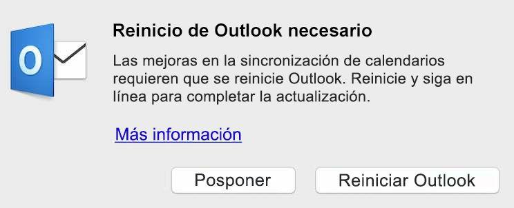 Las mejoras en la sincronización de calendario requieren que se reinicie Outlook. Reinicie y siga en línea para completar la actualización.