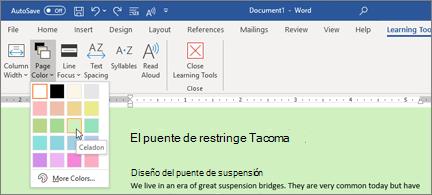 Un documento de Word con un fondo verde y el selector de colores de la página abiertos
