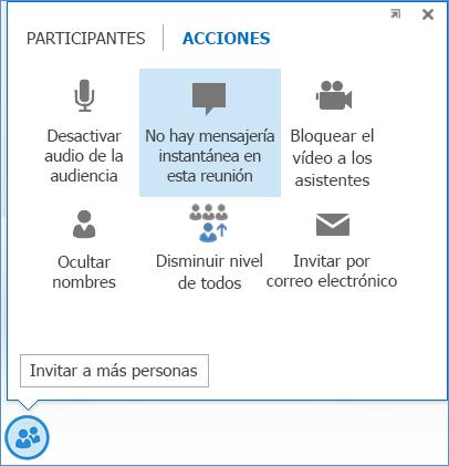 Captura de pantalla de la opción No hay mensajería instantánea en esta reunión