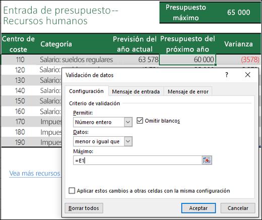 Configuración de validación para realizar cálculos basándose en otro contenido de celda
