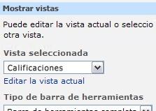 Panel de herramientas del elemento web con todos los elementos seleccionados en la lista Vista seleccionada.