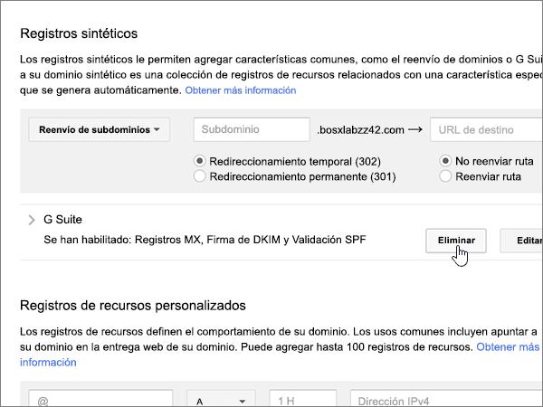 Haga clic en Eliminar en la sección registros síntesis