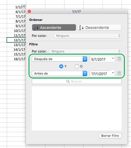 Valores de fecha de filtrado de Excel para Mac