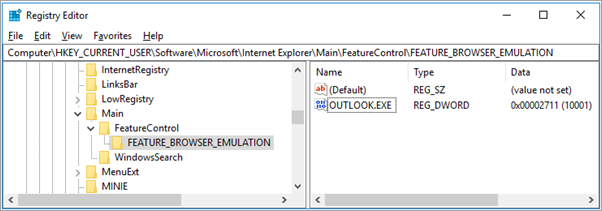 Clave del registro de Outlook.exe