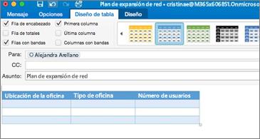 Mensaje con una tabla y la pestaña Diseño de tabla en la cinta de opciones visible