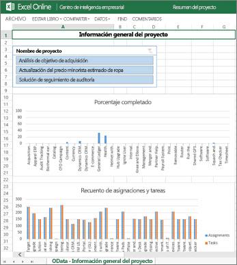 El libro Información general del proyecto proporciona información completa de tarea para sus proyectos