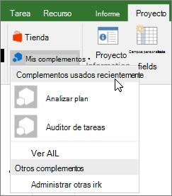 Captura de pantalla de la ficha proyecto en el Mi área complementos con el cursor junto a la lista desplegable de complementos utilizados recientemente. Se muestran los nombres de varios complementos, y puede hacer clic en el nombre para iniciar el complemento.