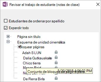 La página del alumno está bloqueada.