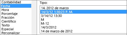 Diálogo de formato de celdas, comando Fecha, tipo 14/3/12 13:30
