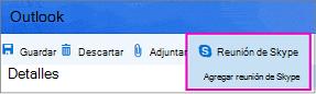 Opción nueva reunión de Skype en Outlook en la web