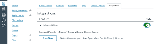 Pestaña Integración con característica para Microsoft Sync