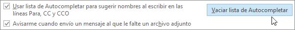 Elija archivo, opciones, correo y en enviar mensajes, elija el botón Vaciar lista de Autocompletar.