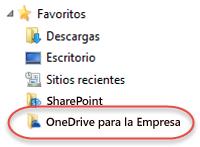 Lista de favoritos para OneDrive para la Empresa en SP2016