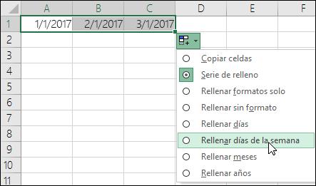 Usar el controlador de relleno para crear una lista de fechas secuenciales