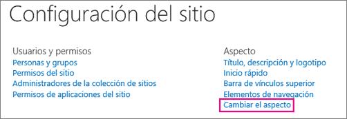 Cambie la opción apariencia en Configuración del sitio.