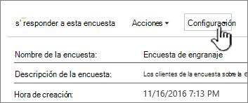 El botón configuración de la encuesta en la parte superior de una vista general de la encuesta