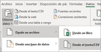 La opción Desde texto está resaltada en la pestaña Datos.