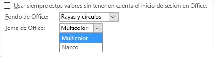 Menú desplegable Tema de Office, opciones de tema Multicolor y Blanco