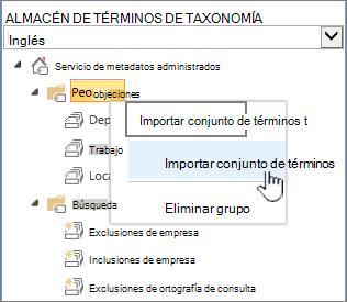 Lista desplegable importar conjunto de términos