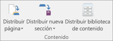 Los iconos de la pestaña Bloc de notas de clase son Distribuir página, Distribuir nueva sección y Distribuir biblioteca de contenido.