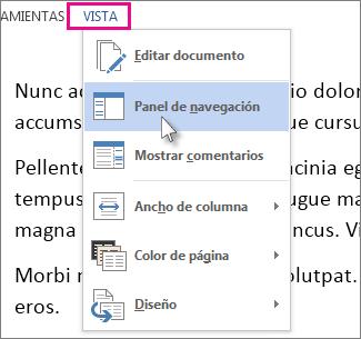 Imagen del menú Ver en modo Lectura con la opción de panel de navegación seleccionada.