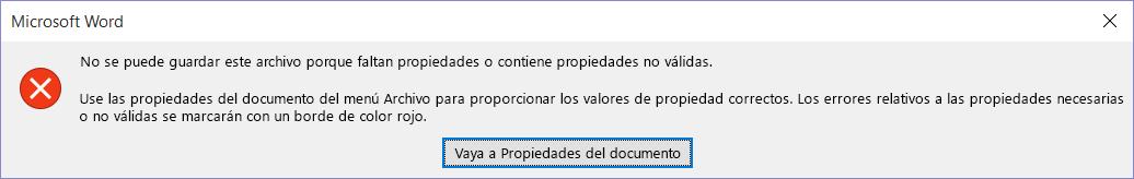 Cuadro de diálogo que indica que no es posible guardar el archivo.